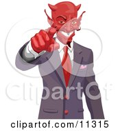 Greedy Horned Devil Pointing Wanting Your Soul Or Money Clipart Picture