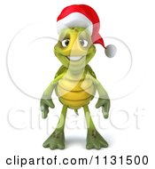 Clipart Of A 3d Christmas Tortoise Wearing A Santa Hat Royalty Free CGI Illustration