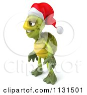 Clipart Of A 3d Christmas Tortoise Facing Left Royalty Free CGI Illustration