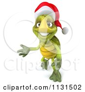 Clipart Of A 3d Christmas Tortoise Presenting Royalty Free CGI Illustration
