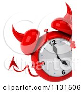 Clipart Of A 3d Devil Alarm Clock With A Sign Royalty Free CGI Illustration by Julos