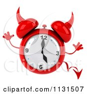 Clipart Of A 3d Devil Alarm Clock Jumping Royalty Free CGI Illustration by Julos