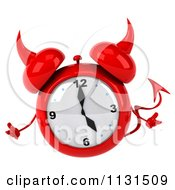 Clipart Of A 3d Devil Alarm Clock Shrugging Royalty Free CGI Illustration by Julos