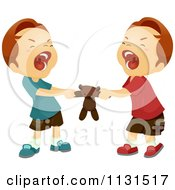 Cartoon Of Twin Boys Fighint Over A Teddy Bear Royalty Free Vector Clipart