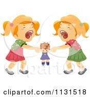 Cartoon Of Twin Sisters Fighting Over A Doll Royalty Free Vector Clipart