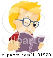 Cartoon Of A Boy Reading A Book With Glasses Royalty Free Vector Clipart