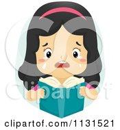 Cartoon Of A Crying Girl Reading A Sad Book Royalty Free Vector Clipart