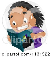 Cartoon Of A Black Boy Reading A Scary Horror Comic Book Royalty Free Vector Clipart