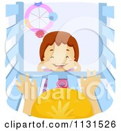Cartoon Of A Happy Boy Looking Down Into A Crib Royalty Free Vector Clipart by BNP Design Studio