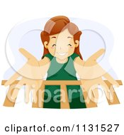 Cartoon Of A Happy Mother Reaching Down Into A Baby Crib Royalty Free Vector Clipart by BNP Design Studio