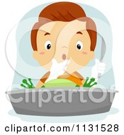 Cartoon Of A Surprised Boy Dissecting A Frog Royalty Free Vector Clipart