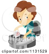 Cartoon Of A Boy Throwing An F Graded Paper Into The Trash Royalty Free Vector Clipart