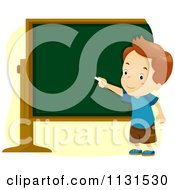 Cartoon Of A School Boy Pointing To A Chalk Board Royalty Free Vector Clipart