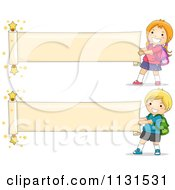 Cartoon Of School Children Unrolling Paper Banners Royalty Free Vector Clipart