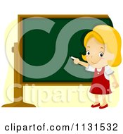 Cartoon Of A School Girl Pointing To A Chalk Board Royalty Free Vector Clipart
