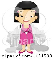 Cartoon Of A Happy Asian Girl In A Doctor Suit Royalty Free Vector Clipart