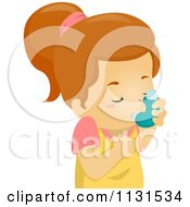Cartoon Of A Girl Using An Asthma Inhaler Royalty Free Vector Clipart