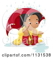 Cartoon Of A Happy Black Girl Sitting In The Rain Under An Umbrella Royalty Free Vector Clipart