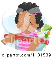 Cartoon Of A Happy Black Girl Riding In A Grocery Cart Royalty Free Vector Clipart
