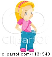 Cartoon Of A Thin Girl Displaying Weight Loss In Her Fat Pants Royalty Free Vector Clipart