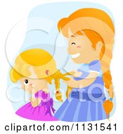 Cartoon Of A Big Sister Helping A Girl Braid Her Hair Royalty Free Vector Clipart