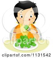 Cartoon Of A Hungry Asian Boy Eating Broccoli Royalty Free Vector Clipart