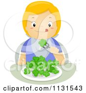 Cartoon Of A Hungry Blond Boy Eating Broccoli Royalty Free Vector Clipart
