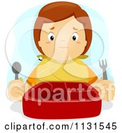 Cartoon Of A Boy With An Empty Lunch Box Royalty Free Vector Clipart