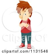 Cartoon Of A Stubborn Unconvinced Boy With Folded Arms Royalty Free Vector Clipart