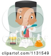 Cartoon Of A Black School Boy Mixing Chemicals In Science Class Royalty Free Vector Clipart