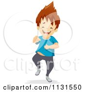 Cartoon Of A Laughing Boy Pointing Royalty Free Vector Clipart