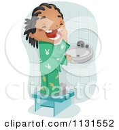 Cartoon Of A Black Boy Showing His Loos Tooth Royalty Free Vector Clipart by BNP Design Studio