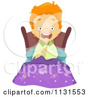 Cartoon Of A Scared Boy Screaming In Bed From A Nightmare Royalty Free Vector Clipart