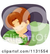 Cartoon Of A Boy Clutching His Pillow While Having A Nightmare Royalty Free Vector Clipart