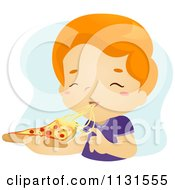 Cartoon Of A Boy Eating A Cheesy Slice Of Pizza Royalty Free Vector Clipart