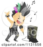 Cartoon Of A Punk Rock Boy Singing By An Amp Royalty Free Vector Clipart by BNP Design Studio