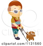Cartoon Of A Blind Boy Walking With A Dog And Cane Royalty Free Vector Clipart