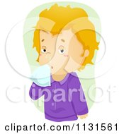 Cartoon Of A Sick Boy With A Runny Nose Royalty Free Vector Clipart