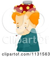Cartoon Of A Sick Boy With A Blanket Thermometer And Compress Royalty Free Vector Clipart