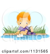 Cartoon Of A Boy Playing With A Paper Boat In A Stream Royalty Free Vector Clipart by BNP Design Studio