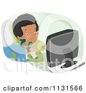 Cartoon Of A Boy Watching A Scary Movie Royalty Free Vector Clipart