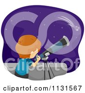 Cartoon Of A Boy Star Gazing Through A Telescope Royalty Free Vector Clipart