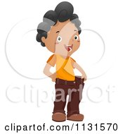 Cartoon Of A Happy Black Boy Showing His Weight Loss With His Fat Pants Royalty Free Vector Clipart