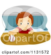 Cartoon Of A Boy Reaching For A Baseball Under A Bed Royalty Free Vector Clipart