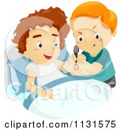 Cartoon Of A Boy Drawing On His Friends Cast Royalty Free Vector Clipart