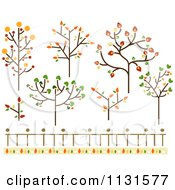 Cartoon Of Autumn Tree And Fence Design Elements Royalty Free Vector Clipart