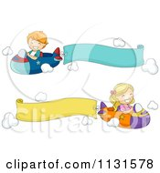 Cartoon Of Children Flying Planes With Banners Royalty Free Vector Clipart