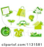 Cartoon Of Green Ecology Icons Royalty Free Vector Clipart