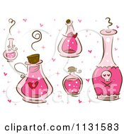 Cartoon Of Pink Love Potion Bottles Royalty Free Vector Clipart