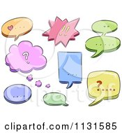 Cartoon Of Colorful Speech Balloons And Punctuation Royalty Free Vector Clipart